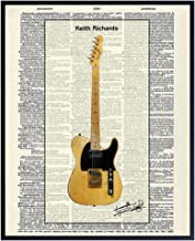 Best Keith Richards Fender Telecaster Guitar Dictionary Art Print - Vintage Upcycled Wall Art Poster - Unique Rustic Home Decor, Gift for Rolling Stones Music Fans, Musicians - 8x10 Photo Unframed Review