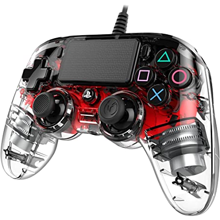 Nacon Compact Controller PS4 Ufficiale Sony PlayStation, Crystal Rosso