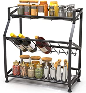 Spice Rack 3-Tier iSPECLE Kitchen Bathroom Organizer Countertop Storage Shelf Holder Standing Rack