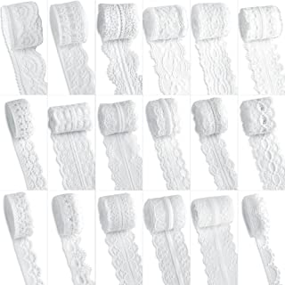 LEOBRO 18 Rolls (3.28 Yards/Each) Assorted Pattern Cream Lace Trim Ribbon, Classic White Lace Ribbon for Floral Designing, Sewing, Quilting, Patchwork, DIY Crafts, Total 54 Meters/59 Yards