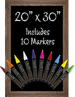 Rustic Brown Magnetic Wall Chalkboard Sign: Includes 10 Liquid Chalk Markers 20