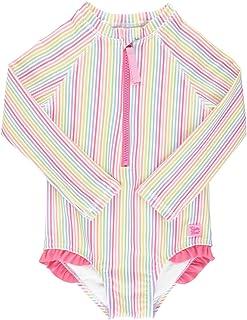 RuffleButts Girls Rainbow Stripe Long Sleeve One Piece Rash Guard - 8