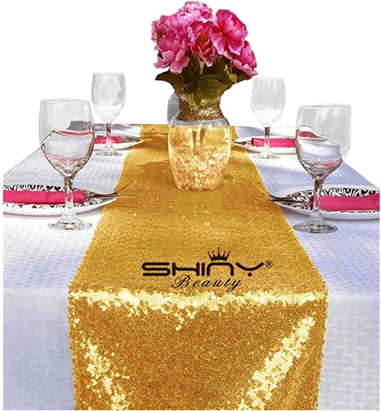 ShinyBeauty Sequin Table Runner Gold 12 X72 Pack Of 25 Party Runner Table Runners For Weddings Gold Y1013
