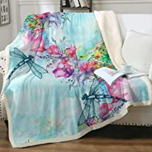Sleepwish Dragonfly Ultra Soft Sherpa Fleece Throw Blanket Garden Flowers Bed Throws Cute Trendy Girly Plush Blankets for Bed Couch Sofa Chair Of