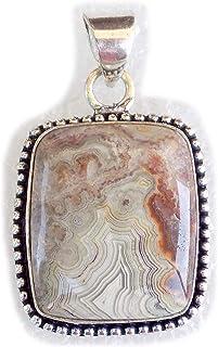 Crazy Lace Agate Pendant, Silver Plated Brass Pendant, Handmade Pendant, Gift Jewelry, Women Jewellry, Fashion Jewellry, B...