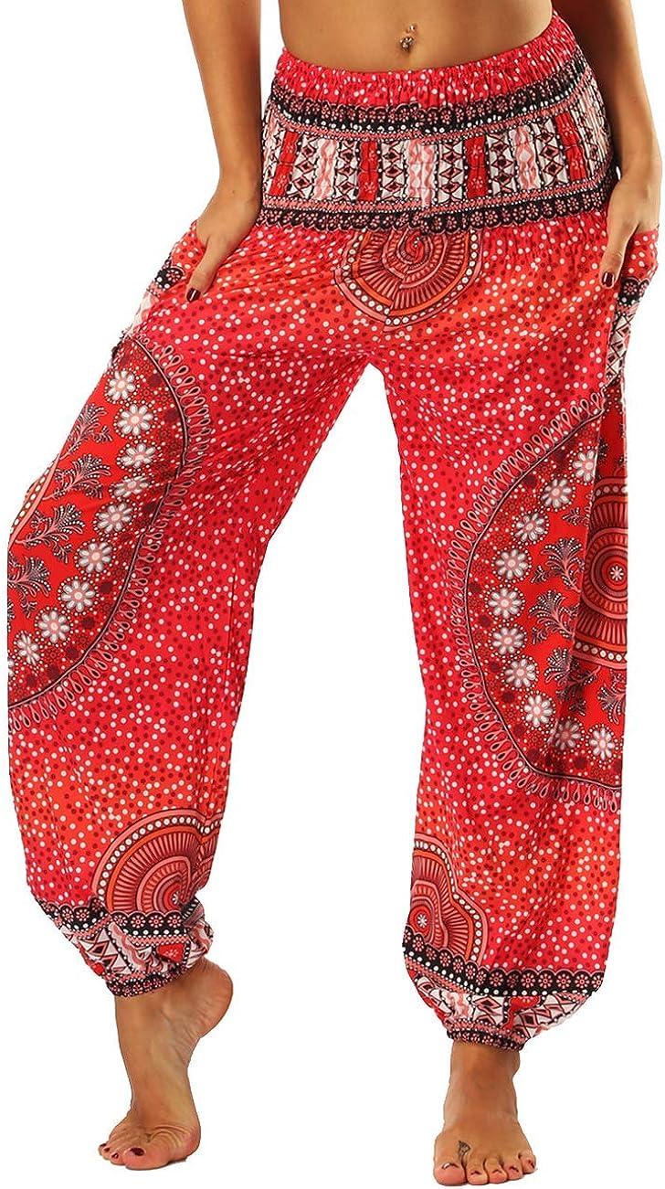 High quality Hopgo 55% OFF Women's Harem Hippie Pants Tie-dye Smocked Waist Yoga Boho