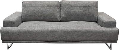 Benjara Benzara Adjustable Backrest Sofa with Metal Sled Legs, Gray and Silver