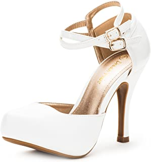 1e266fa9e30a8b DREAM PAIRS OFFICE-02 Women s Classy Mary Jane Double Ankle Strap Almond  Toe High Heel