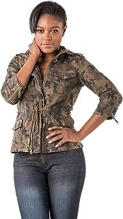 Curvy Women Camo Printed Denim Detachable Hood Utility Jacket