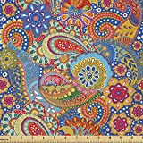 Lunarable Asian Fabric by The Yard, Colorful Paisley Floral Pattern Classical Ornamental Medieval Art, Decorative Satin Fabric for Home Textiles and Crafts, 2 Yards, Blue Yellow