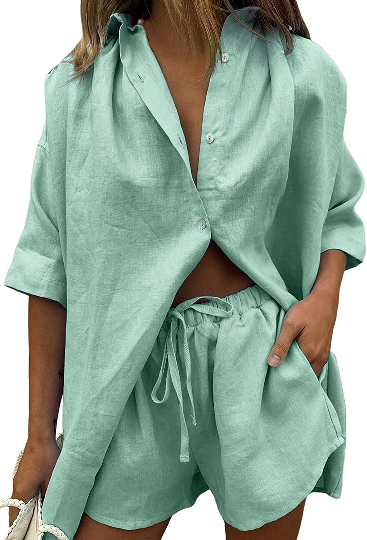 Shirt And Shorts Set Women 2 Piece Outfits Stripe Button Down Shirts Drawstring Short Pant Casual Sets