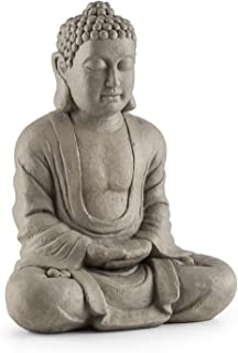 Blumfeldt Siddhartha Escultura con Estilo Budista • 60 cm de Altura • Resistente a Intemperie • Hecha de Fibra de Vidrio y Cemento • Estatua Decorativa de Siddharta Gautama meditando