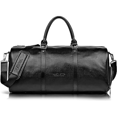 BOSTANTEN Men's Travel Duffle Genuine Leather Weekender Overnight Bag for Gym Sports (Black-Large)