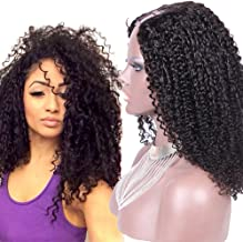 Addcolo Tight Curly U Part Wig Brazilian U Part Human Hair Wigs For Black Women 1.5x4 Middle Part Upart Natural Color 130% Density 20Inch