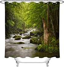 LivebyCare Various Pattern and Size Shower Curtain with 12 Hooks Forest and River 72 x 80 Inch Waterproof/Water Repellent Resistant for Home Club