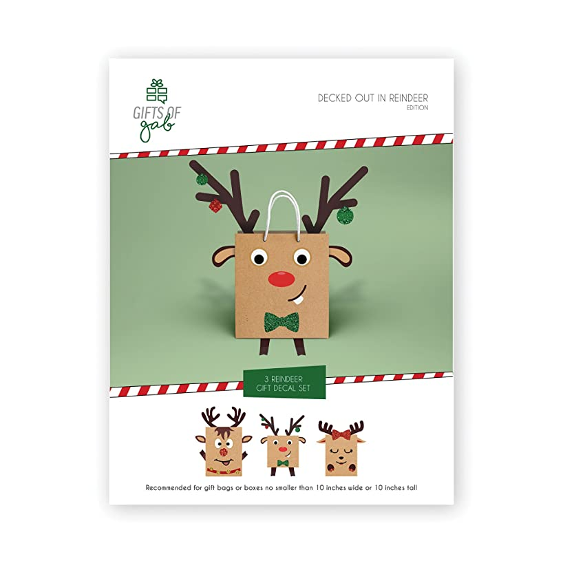 Gifts of Gab - Reindeer Gift Bag Decoration | Christmas Gift Wrap | Design & Decorate | Sticker Booklet | Decorate 3 Reindeer Christmas | Craft Kit | Themed Gift Bags for Kids | Perfect Party Stickers