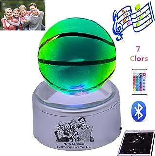 KIKISHOPQ Personalized Photo 3D Crystal Football Basketball Light Bluetooth Music Player