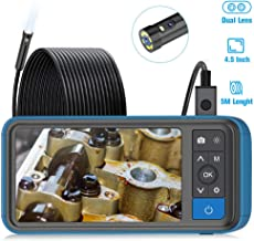 "Industrial Endoscope, ScopeAround 1080P Dual Lens Inspection Camera, 16.5ft Waterproof Borescope 4.5"" Screen Snake Camera with 6 LED Lights,Semi-Rigid Cable, 32GB TF Card (PU Bag)"