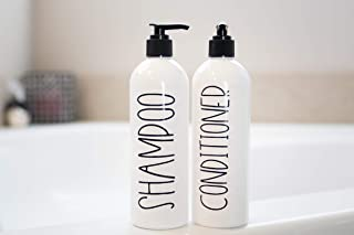 White Shampoo Bottles with Pump, Shower Organization, Set of 2 16 oz Bottles