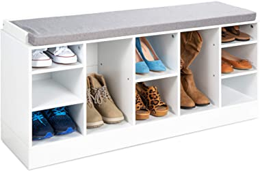 Best Choice Products 46in Multifunctional Space Saving Organization Storage Shoe Rack Bench for Entryway, Bedroom, Living Roo