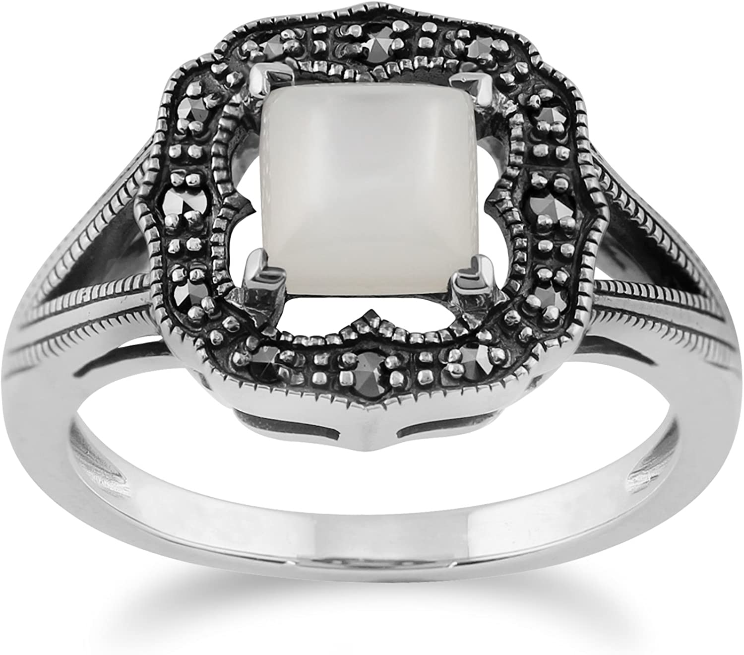 Gemondo Art Deco Ring, 925 Sterling Silver 0.58ct Mother of Pearl & Marcasite Art Deco Ring