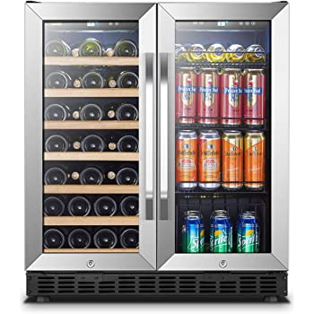 143.3 pounds Combo Fridge with 100 Beverage Cans or Bottles 28 Wine Bottles Temperature Control KingsBottle Vibration Free Beverage /& Wine Refrigerator with Glassdoor Drinks /& Wine Dual Cooler