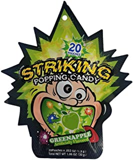 (20 Pouches) Striking popping candy X 5 Packs (GREEN APPLE)