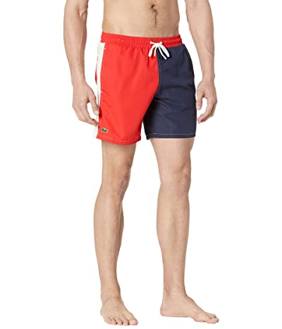 Lacoste Color-Block with Lacoste Word on Side Leg Swim Trunks Men