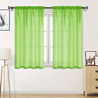 DWCN Faux Linen Sheer Curtains - Textured Rod Pocket Semi Voile Bedroom and Living Window Curtain Panels, Set of 2 Panels, 52 x 54 Inch, Fluorescent Green