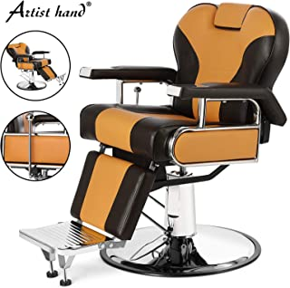 Artist Hand Heavy Duty Barber Chairs Hydraulic Reclining Barber Chair Salon Chair Styling Chair for Salon Equipment Tattoo Chair (Yellow+Brown)
