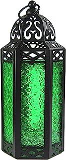 Vela Lanterns Moroccan Style Candle Lantern, Medium, Green Glass