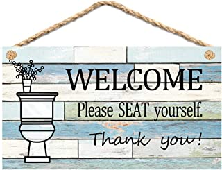Calien Funny Bathroom Signs Please Seat Yourself Welcome Sign 13.5