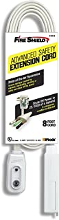 Fire Shield 16/3 Extension Power Cord w/ Advanced Safety LCDI, 8-Foot, White