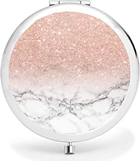 BYBART Metal Compact Mirror, 2-Sided with 2X and 1X Magnifying Handheld Makeup Mirror - Perfect for Purse Pocket Travel - ...