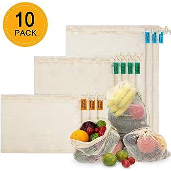 3S*4M*3L Zindoo Bolsa Reutilizable Algodon Alternativa al pl/ástico Lavable y Transpirable Bolsa de Malla para Almacenamiento Fruta Verduras Juguetes 10PCS