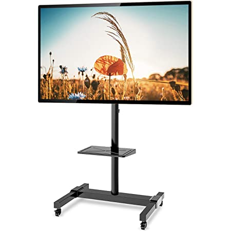 Mobile TV Cart Adjustable Stand Mount for 32 to 65Inch LCD LED Flat Panel Screen with Wheels 120 x 39 x 11 Hold up to 110kg TV Adjustable Stand