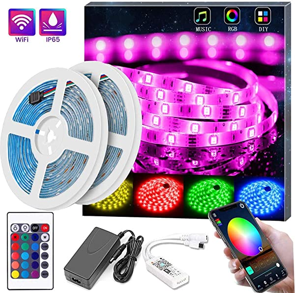 Led Strip Lights 32 8ft Led Light Strip SMD5050 RGB Strip Light Smart WiFi Led Light Strips Works With Magic Home Phone App Controlled Music Light Strip For Party And Home Party