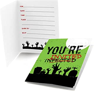 Big Dot of Happiness Zombie Zone - Fill-in Halloween or Birthday Zombie Crawl Party Invitations (8 Count)