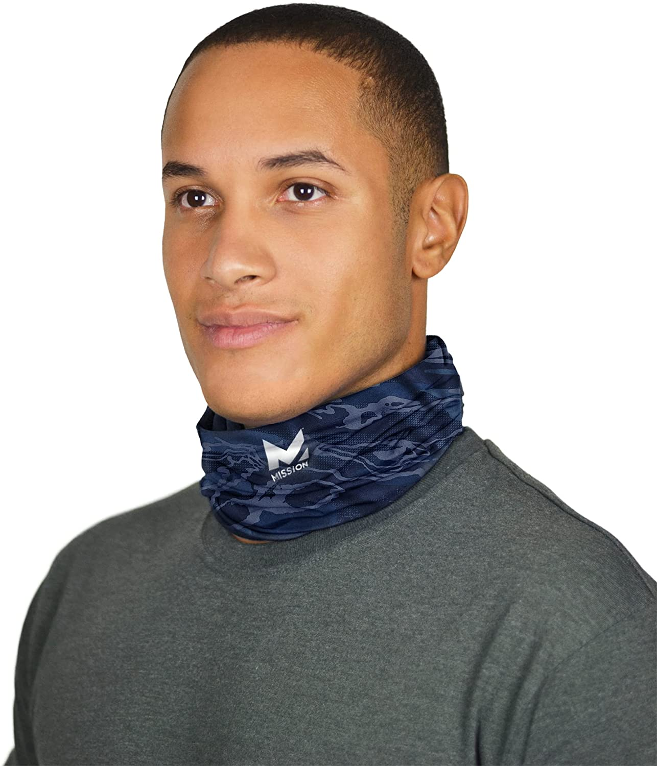 Mission Cooling Neck Gaiter 12+ Ways to Wears, Face Mask, UPF 50, Cools When Wet Matrix Camo Bering Sea