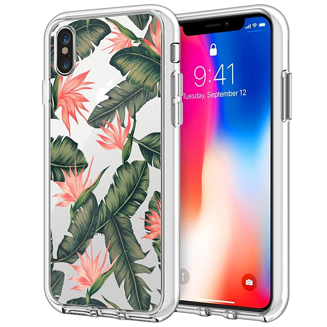 iPhone Xs Max Clear UV Printing Case Banana Leaves Ultra Thin TPU Cover Protective Phone Cover Case