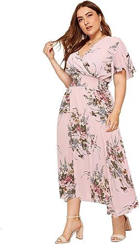Milumia Women Plus Size Summer Floral Boho High Waist V Neck Maxi Dress