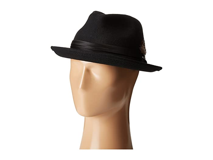 Stacy Adams Crush Wool Felt Fedora (Black) Fedora Hats