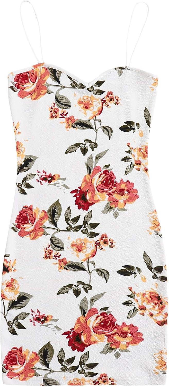 Milumia Women's Boho Floral Print Spaghetti Strap Backless Bodycon Pencil Cami Dress
