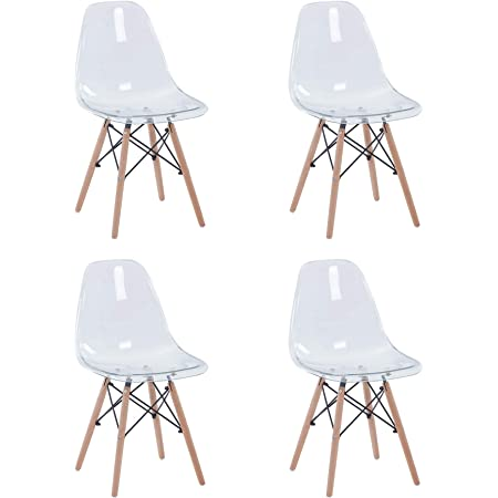 BenyLed Lot de 4 Chaise Transparente Scandinave Chaise Salle a Manger en Polycarbonate avec Pieds en Bois de Hêtre pour Salle à Manger, Salon, Bureau, Restaurant, etc.