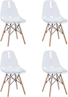 BenyLed Juego de 4 Sillas de Comedor de Acrílico Escandinavo Transparente con patas de Madera de Haya Maciza (Blanco transparente)