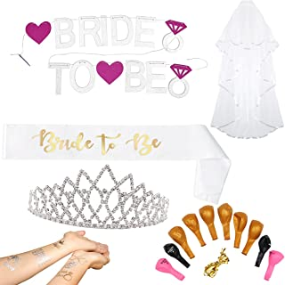 Complete Bachelorette Party Decorations Set - Package of Bridal Shower Accessories & Supplies Sash for Bride To Be, Tiara/Crown, Veil, Pink and Silver Banner, 10 Balloons & Bride Tribe Tattoos