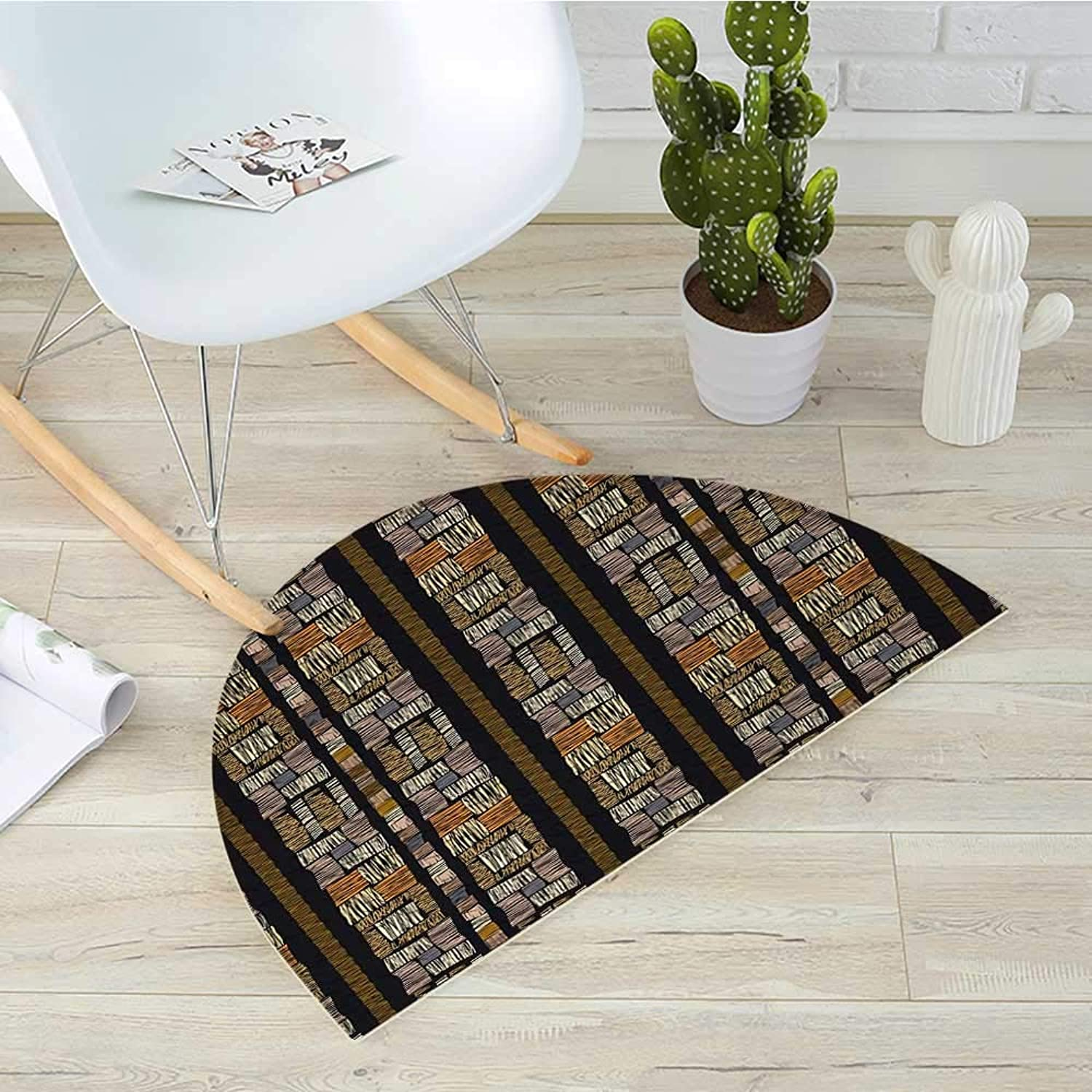Zambia Semicircular CushionAuthentic Bohemian African Civilization Striped Grunge Fashion Culture Artsy Pattern Entry Door Mat H 39.3  xD 59  Multicolor