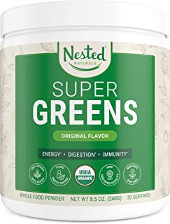 Super Greens   #1 Green Superfood Powder   100% USDA Organic Non-GMO Vegan Supplement   30 Servings   20+ Whole Foods (Spirulina, Wheat Grass, Barley), Probiotics, Fiber & Enzymes (Original)