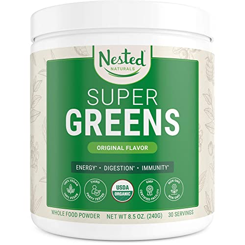 Super Greens | #1 Green Superfood Powder | 100% USDA Organic Non-GMO Vegan Supplement | 30 Servings | 20+ Whole Foods (Spirulina, Wheat Grass, Barley), Probiotics, Fiber & Enzymes (Original)