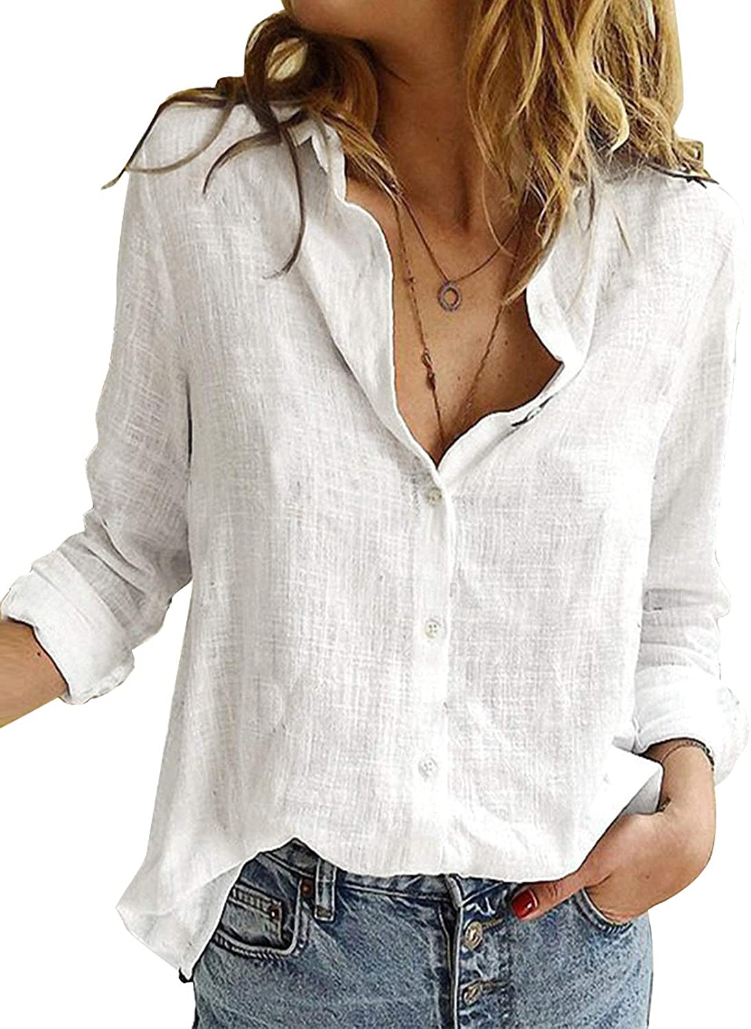 Astylish Womens V Neck Roll up Sleeve Button Down Blouses Top
